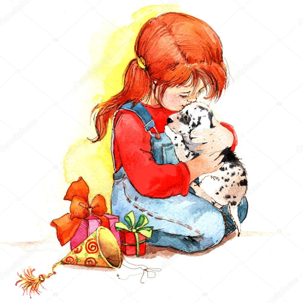 Kids and little animal. background for congratulations. A series of child and nature. watercolor.