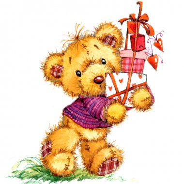 Valentine's Day. Teddy bear. Toy for celebration festival. water
