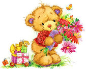 Teddy bear. background for greetings cards. watercolor illustrat