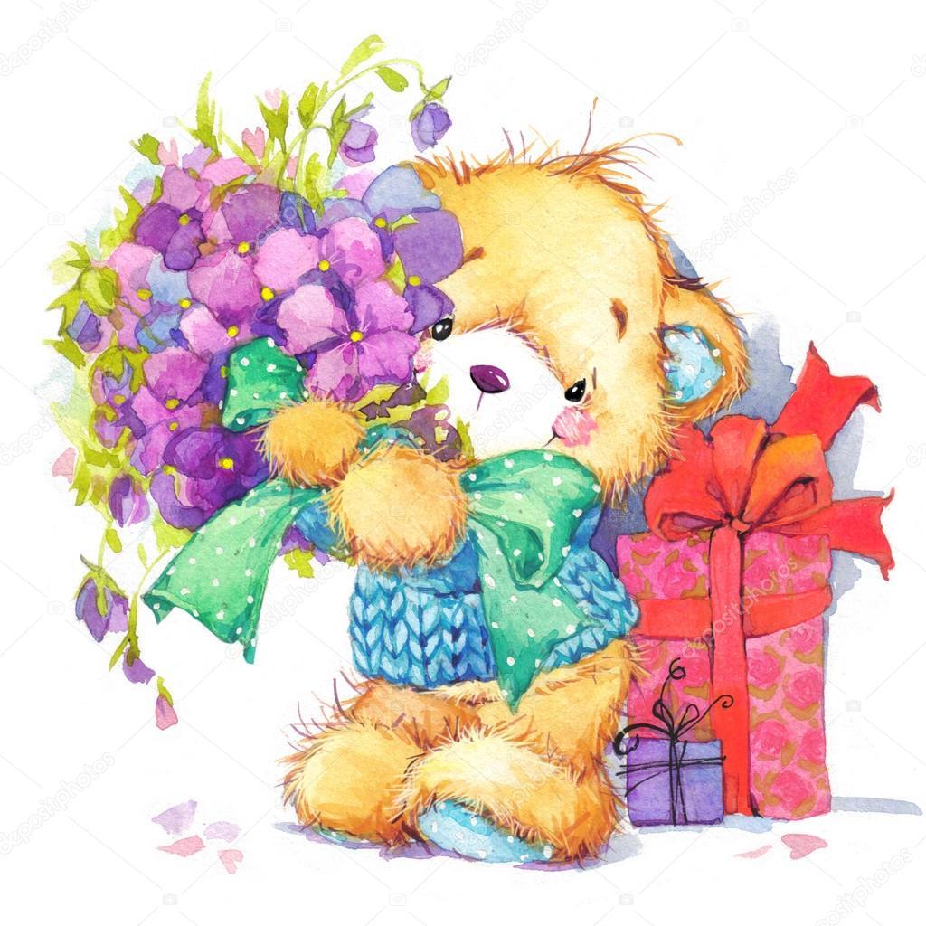 Teddy Beart Of Birthday Greetings Festivalwatercolor Stock