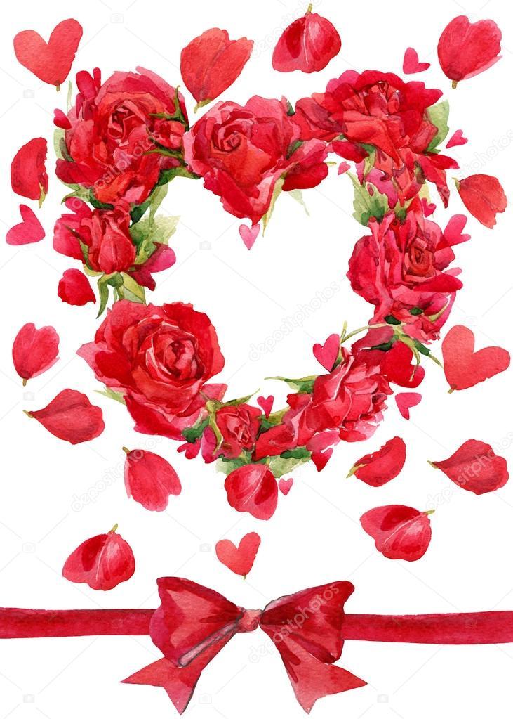 gefeliciteerd met valentijnsdag Valentijnsdag. Rood hart van rozen. bloem aquarel achtergrond voor  gefeliciteerd met valentijnsdag