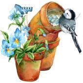Frühling Blumen und Vogel. Aquarell