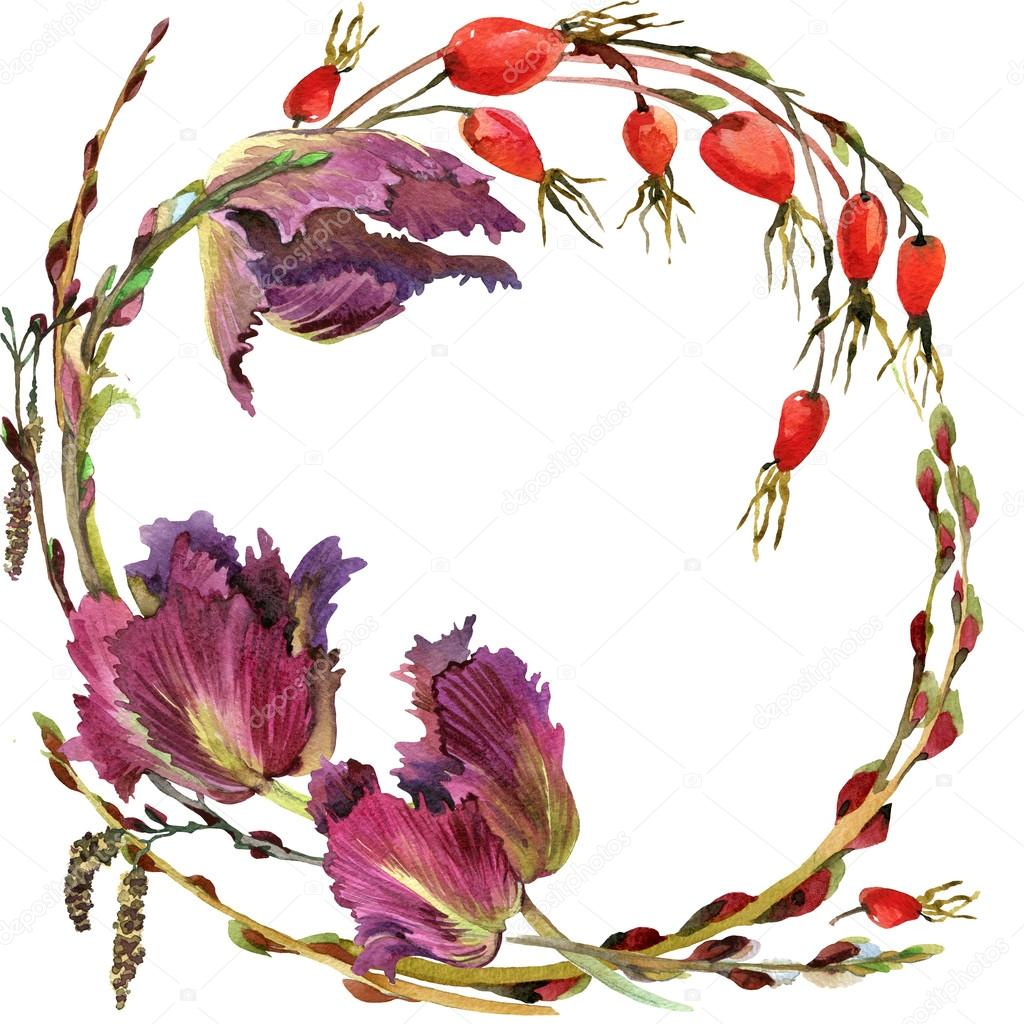 Flower wreath of Royal Tulip, hips and willow branches with green grass. watercolor art