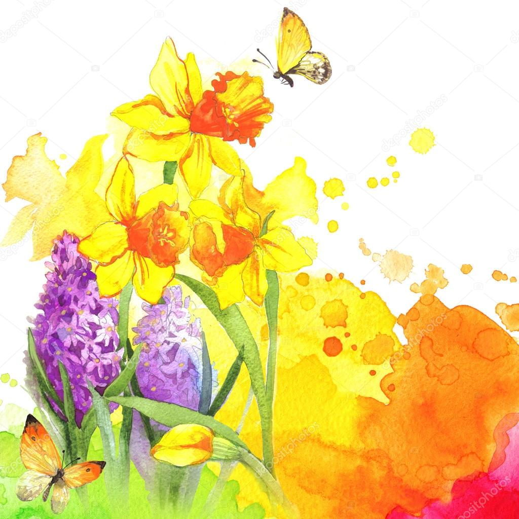 Watercolor flowers and butterfly on blurry background