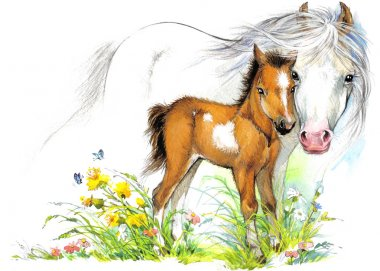 Watercolor horse mom and baby