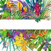 Trópusi levelek, virágok és a pillangó