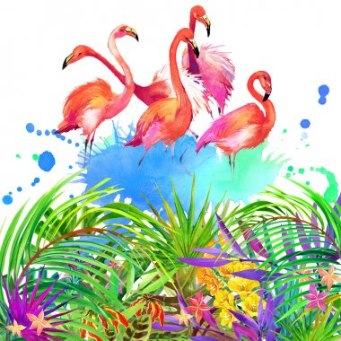 Tropical flowers, leaves and flamingo bird.