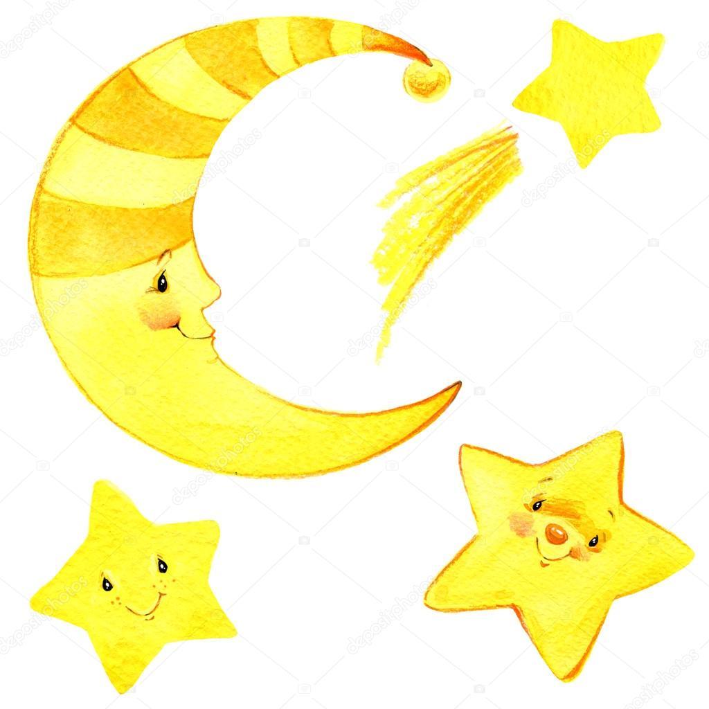 cartoon moon and stars Watercolor illustration