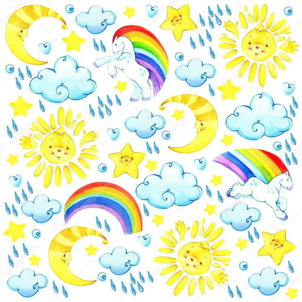 Watercolor sun, clouds, moon, stars, rainbow.