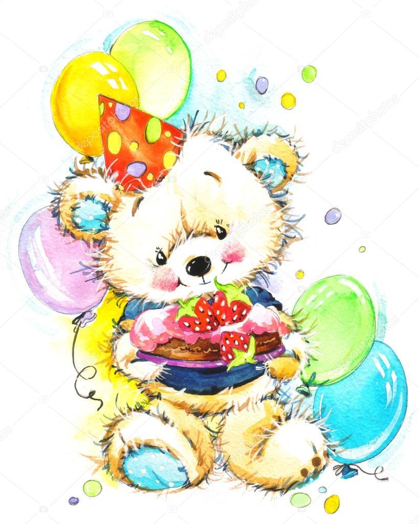 barn födelsedag nallebjörn för barn födelsedag bakgrund — Stockfotografi  barn födelsedag