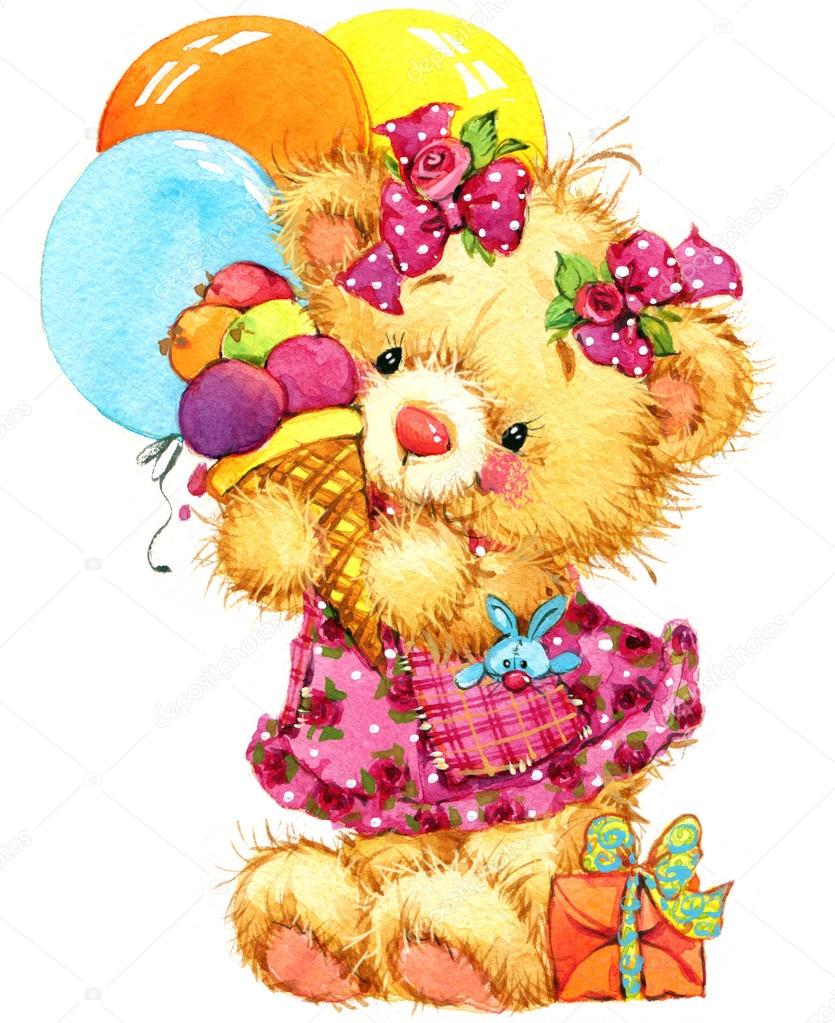 teddy bear for kid birthday background u2014 stock photo