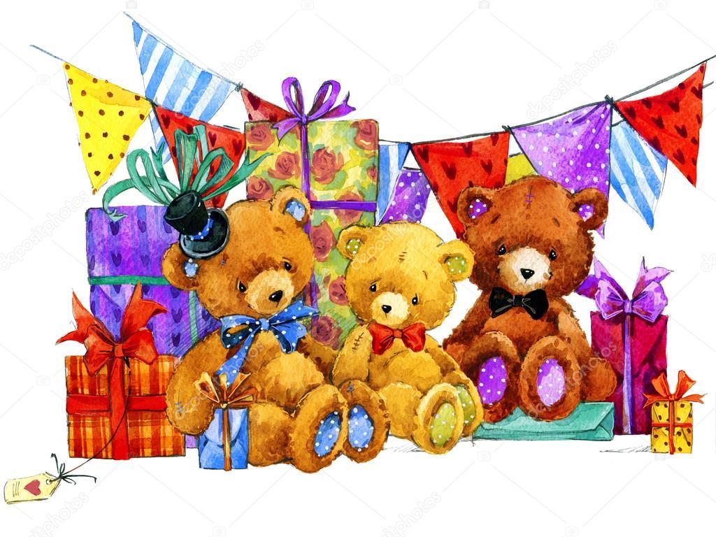 teddy bear and background for kids birthday u2014 stock photo