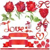 Fotografia Priorità bassa di giorno di San Valentino ed elementi per la decorazione