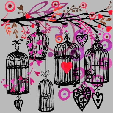 Valentine day background with decorativ flowers, bird, ribbon, birdcage  and red heart.