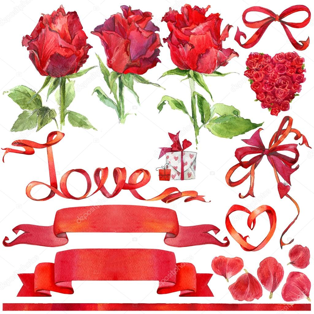 Valentine day background and elements for decoration