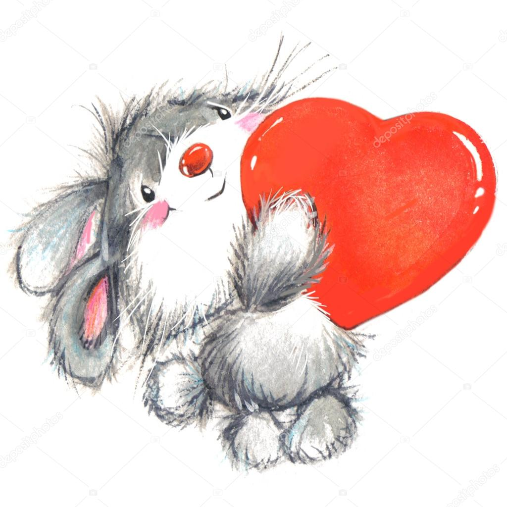 Valentine Day. Background for card with cute animal
