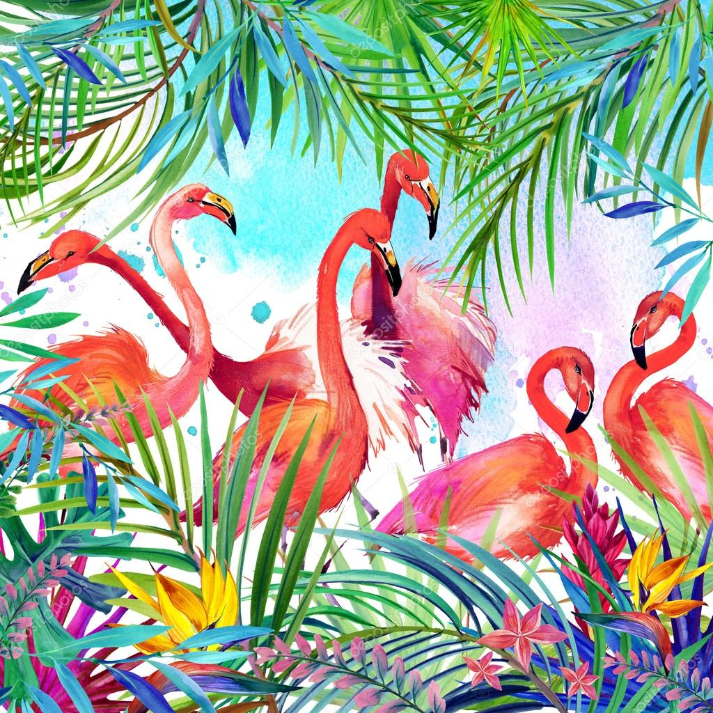 Tropical exotic bird, leaves and flowers. watercolor