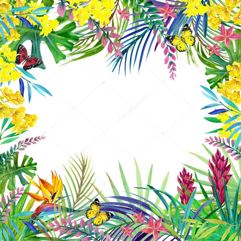 Tropical forest landscape, leaves, flowers and butterfly.