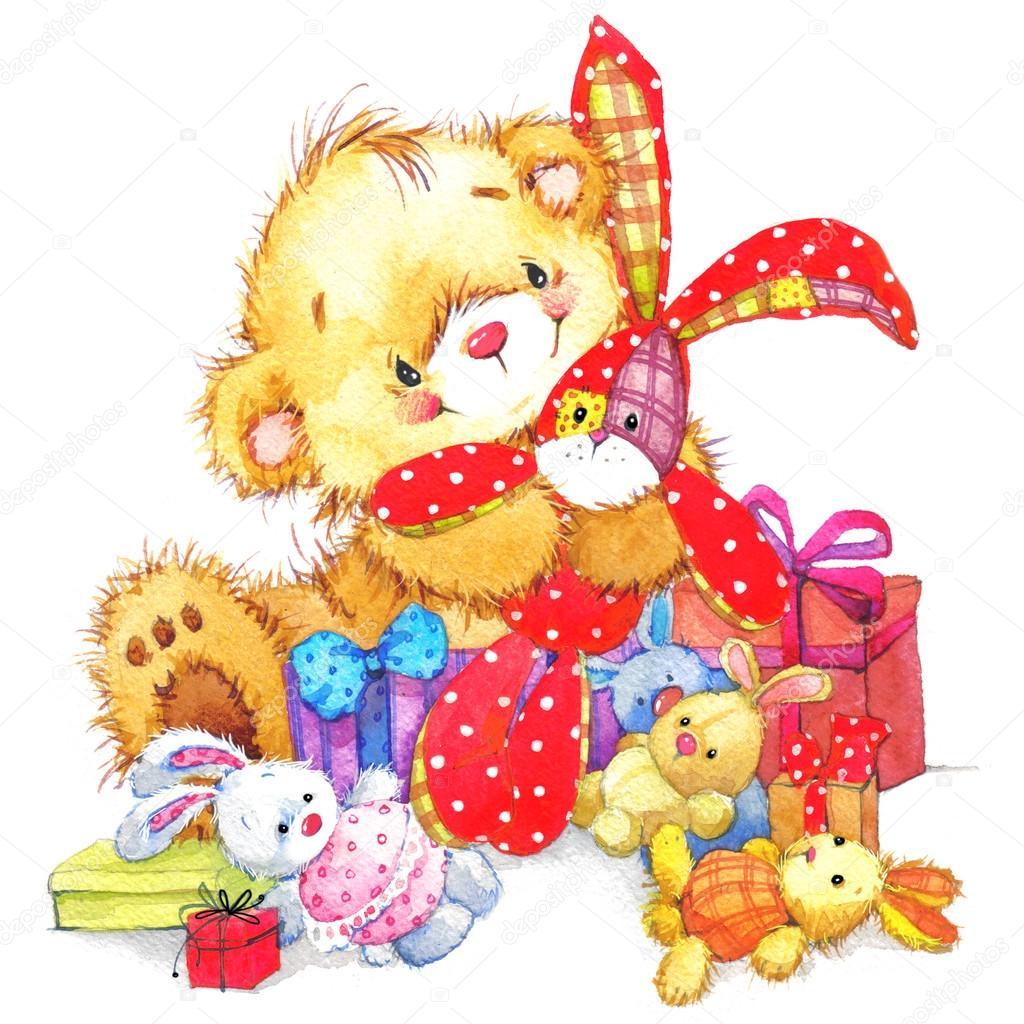 Teddy Beer En Kind Verjaardag Achtergrond Stockfoto