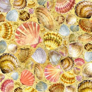 Seashell and sea sand. watercolor