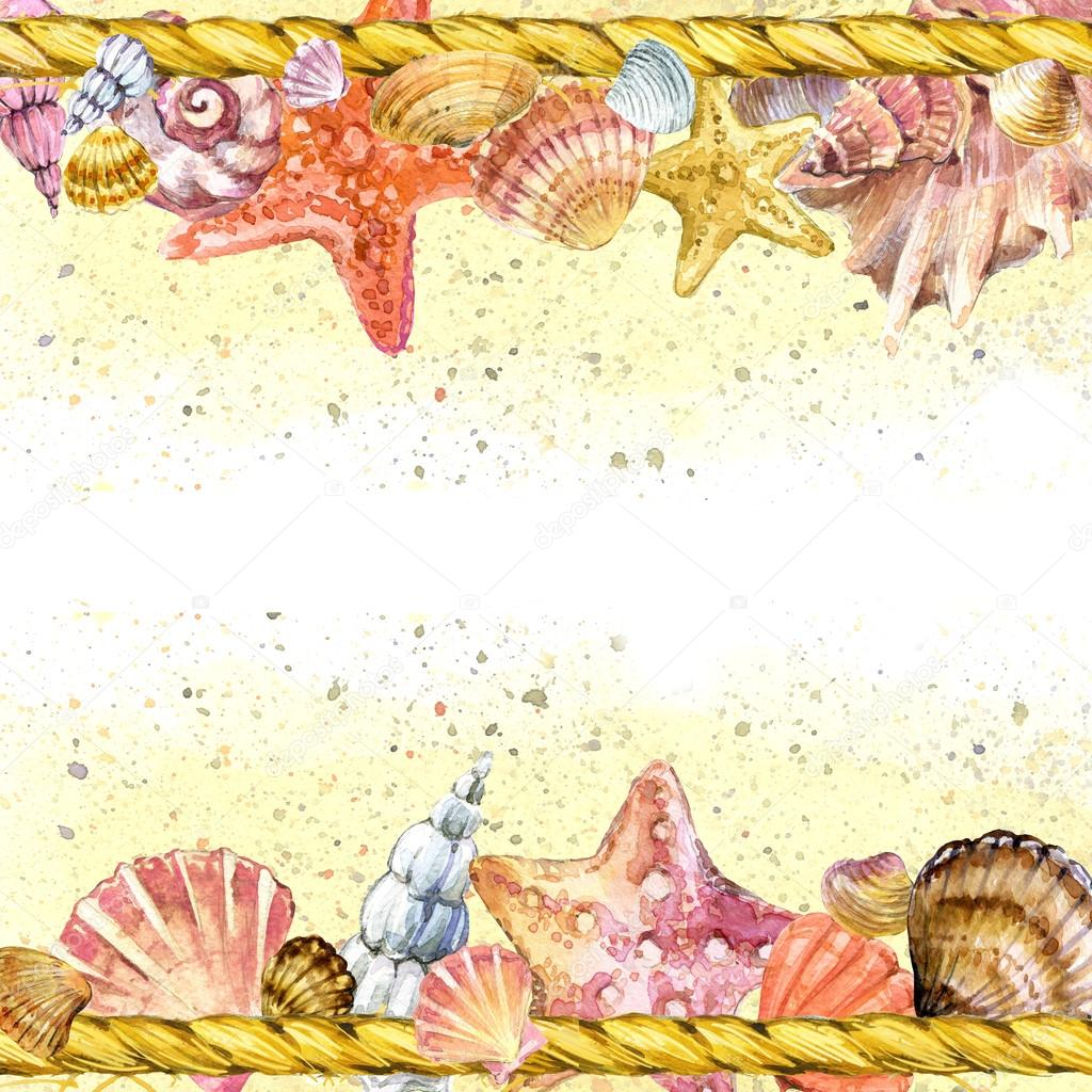 Seashell and sea sand. watercolor