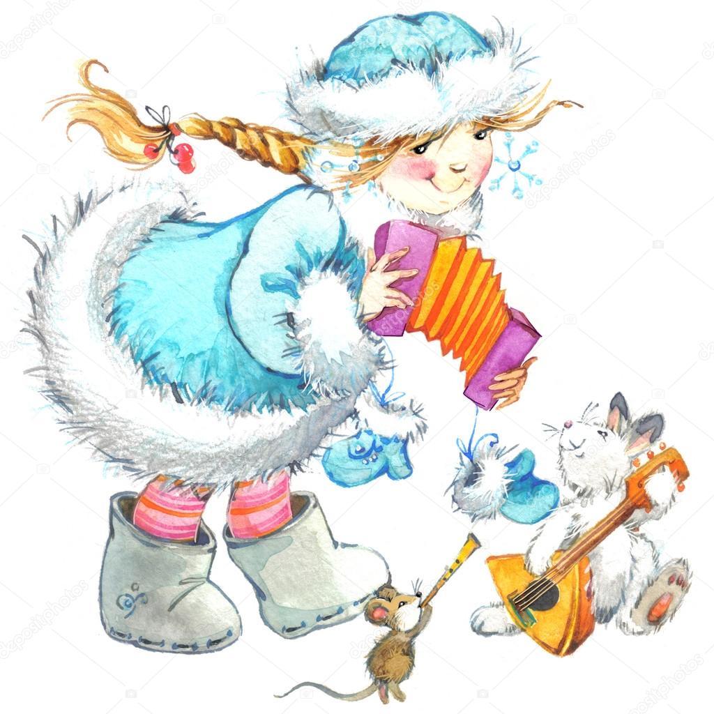 かわいい女の子と変な動物。冬の休日の背景の水彩画 — ストック写真