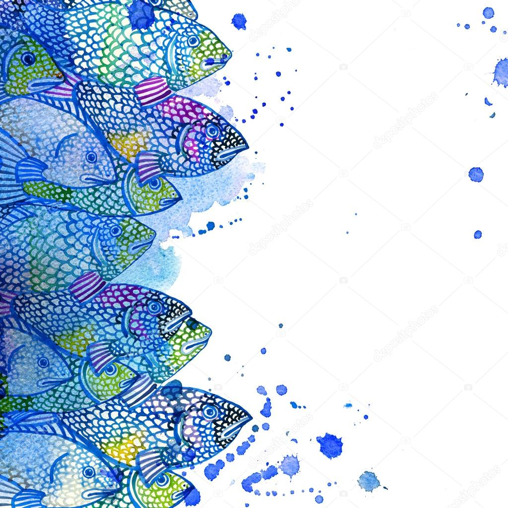 Sea fish watercolor background