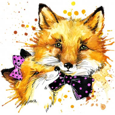 Funny fox with watercolor splash background