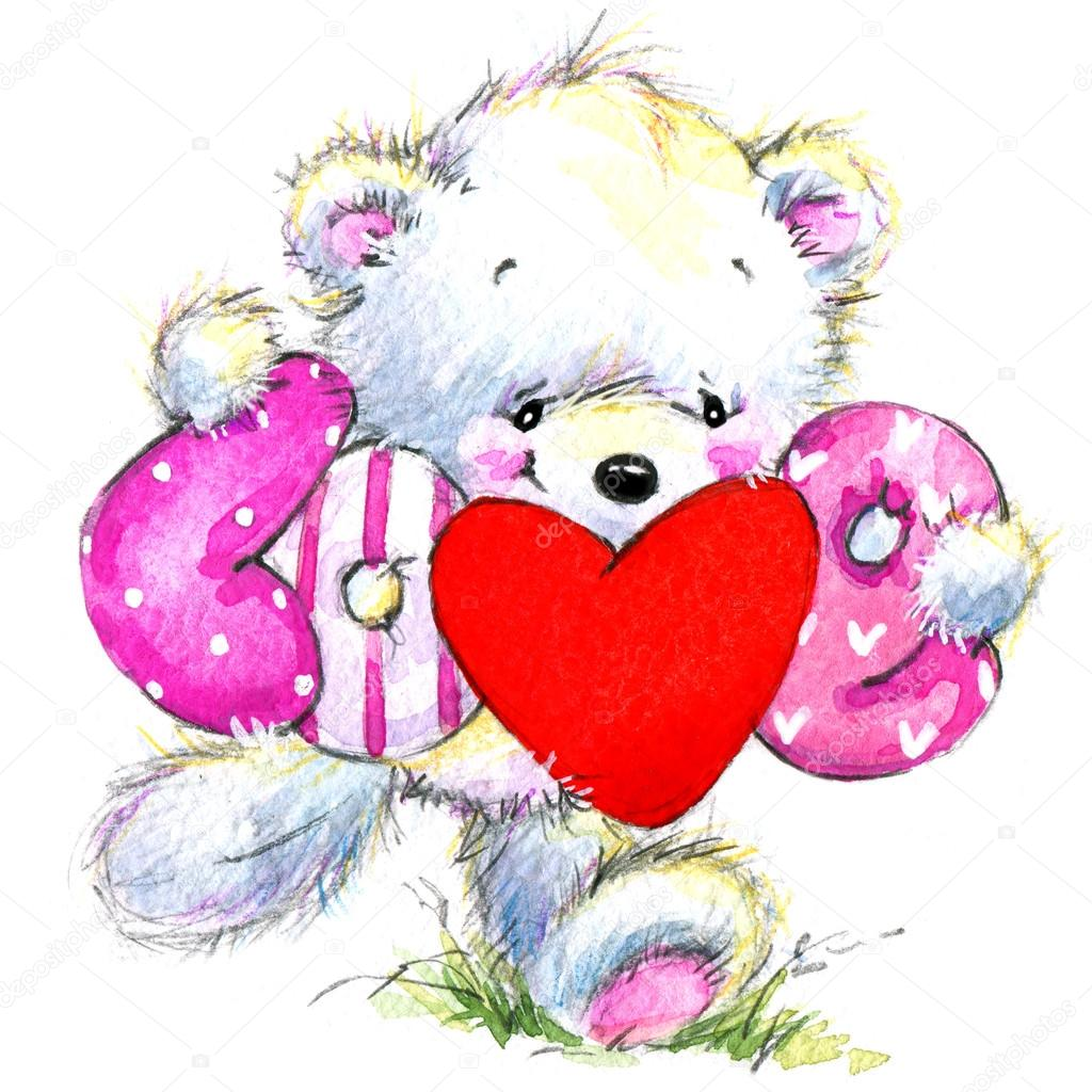 Valentine day. Cute White bear and red heart.