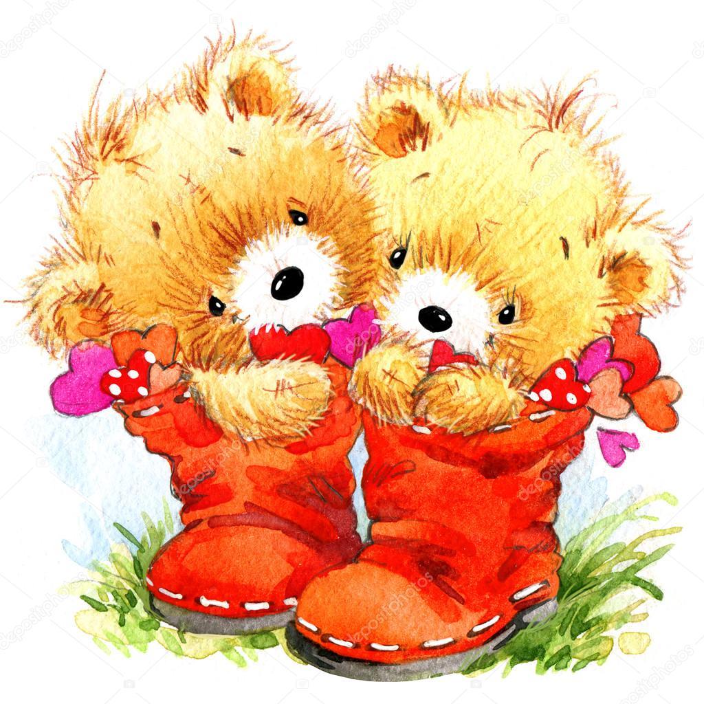 Cute teddy bear and Valentines heart