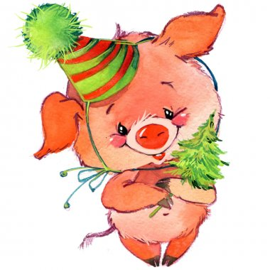 Funny pig and party. watercolor