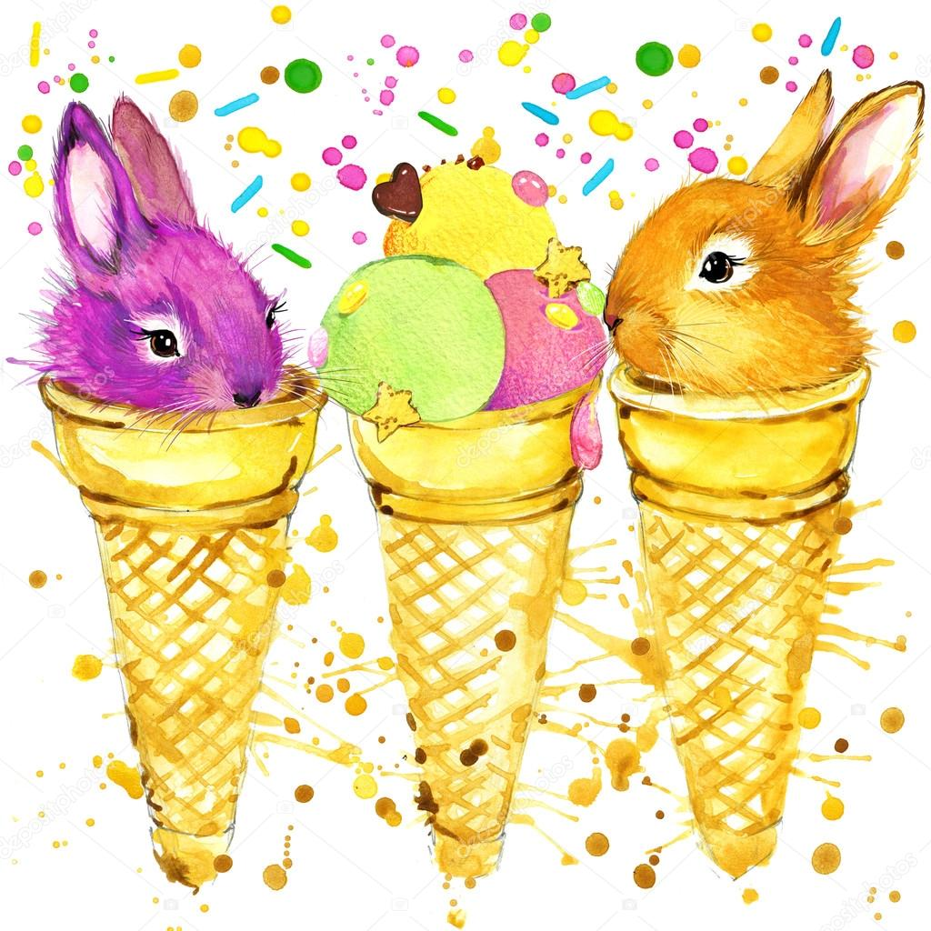 T-shirt graphics rabbits and popsicles, illustration watercolor