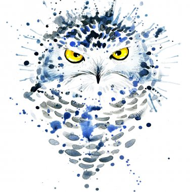 T-shirt graphics cute snowy owl, illustration watercolor