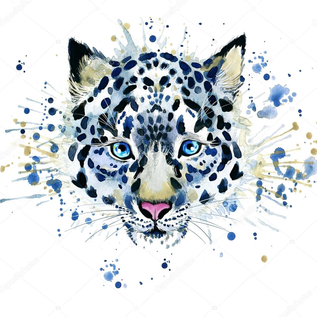 T-shirt graphics cute snow leopard, illustration watercolor