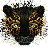 Fényképek Jaguar illusztráció splash akvarell textúrázott háttérre