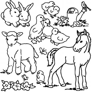 Coloring book,  Cartoon farm animals, vegetables, fruits and decoration elements for kid drawing
