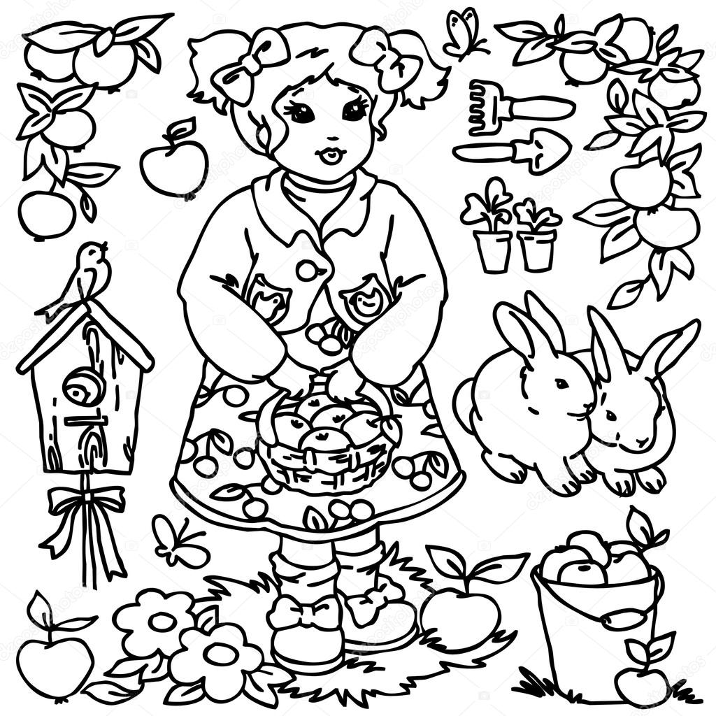 cartoon farm animals vegetables fruits and decoration elements for kid drawing stock image - Cartoon Kid Drawing