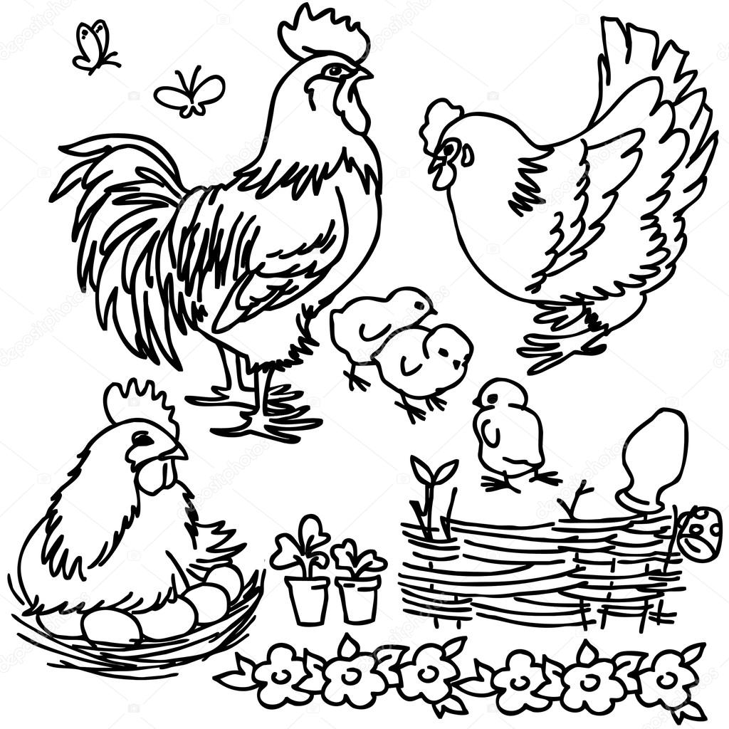 Ausmalbilder Zootiere: Coloring Book, Cartoon Farm Animals, Vegetables, Fruits
