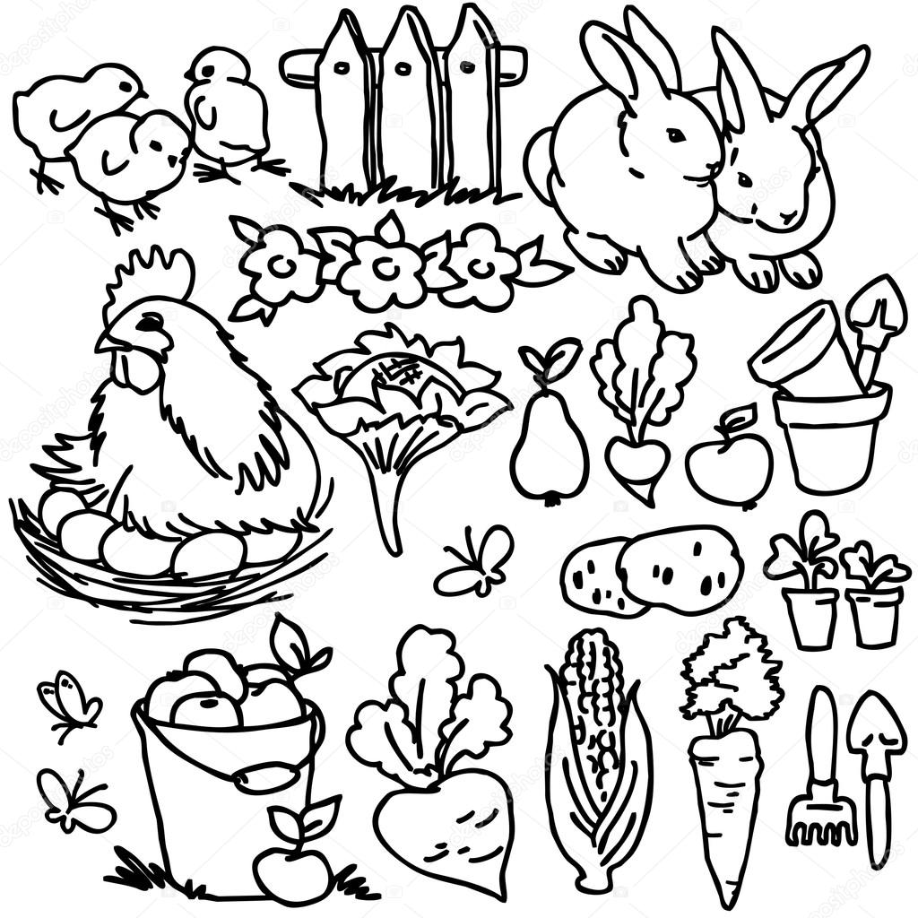 Dreamstime Cartoon Farm Animals Vegetables Fruits And Decoration Elements For Kid Drawing Stock Image Depositphotos Cartoon Farm Animals Vegetables Fruits And Decoration Elements For