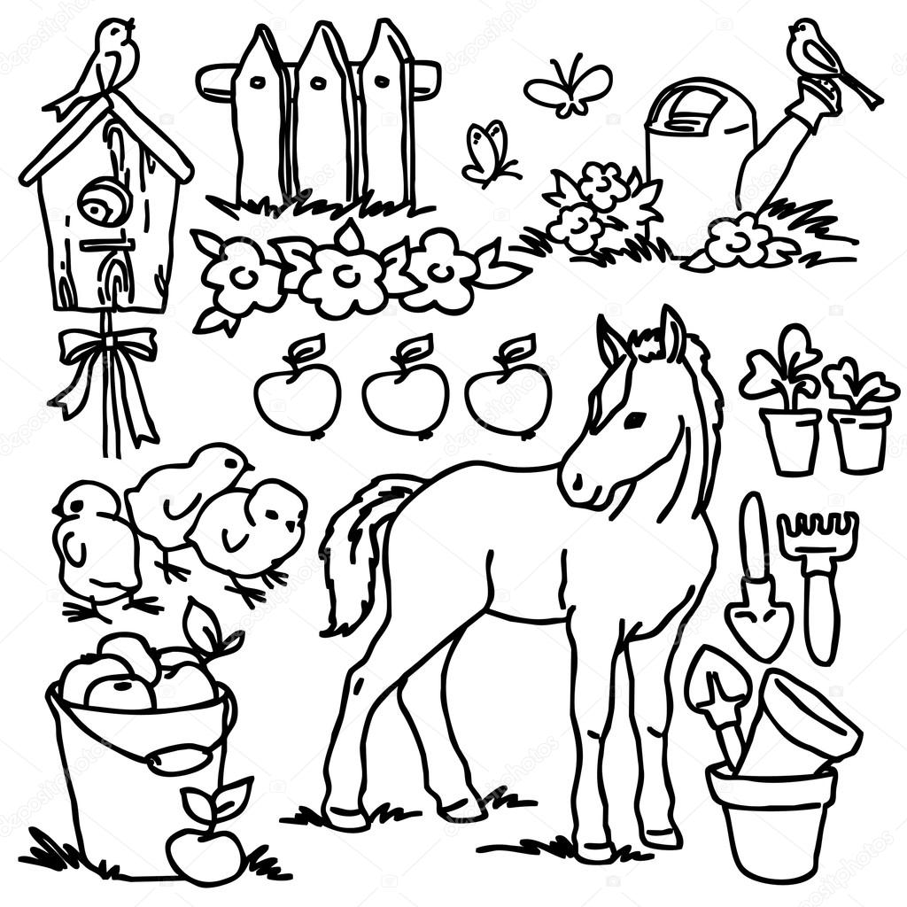 Coloring book, Cartoon farm animals, vegetables, fruits and ...