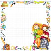 Fotografie school children and Back to school background for celebration watercolor illustration
