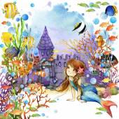 Unterwasser-Welt. Meerjungfrau und Fisch Korallenriff. Aquarell, Illustration für Kinder