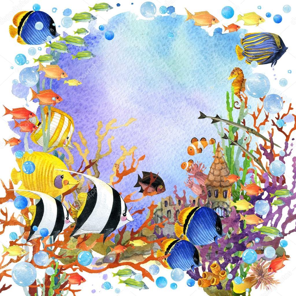 mundo submarino. Ilustración acuarela de peces de arrecife de coral ...