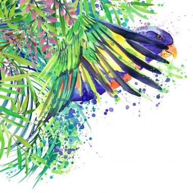 Tropical exotic forest, green leaves, wildlife, tropical bird Parrot, watercolor illustration. watercolor background unusual exotic nature