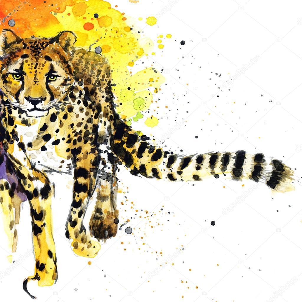 5c1b43d577d6e African animals cheetah illustration with splash watercolor textured  background. — Foto von dobrynina_art