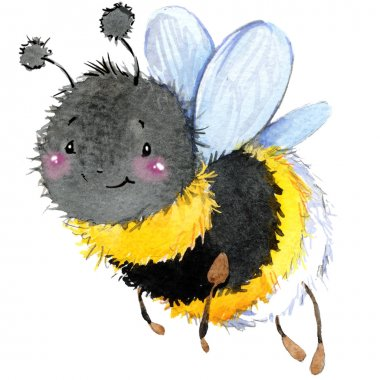 Cartoon insect bumblebee watercolor illustration. isolated on white background.