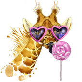 giraffe T-shirt graphics, giraffe and sweet candy illustration with splash watercolor textured background. unusual illustration watercolor giraffe fashion print, poster for textiles, fashion design