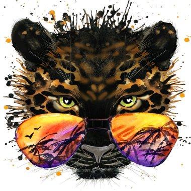 Cool jaguar T-shirt graphics. jaguar illustration with splash watercolor textured  background. unusual illustration watercolor jaguar fashion print, poster for textiles, fashion design
