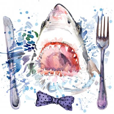 hungry shark T-shirt graphics. shark illustration with splash watercolor textured background. unusual illustration watercolor hungry shark fashion print, poster for textiles, fashion design