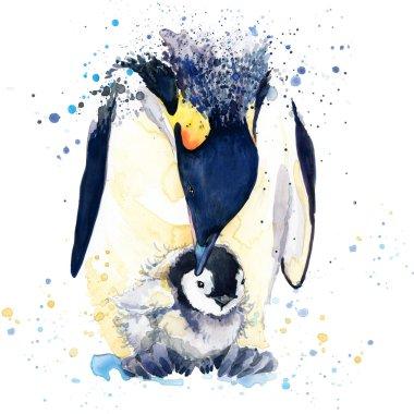 Emperor penguin T-shirt graphics. emperor penguin illustration with splash watercolor textured background. unusual illustration watercolor penguin fashion print, poster for textiles, fashion design
